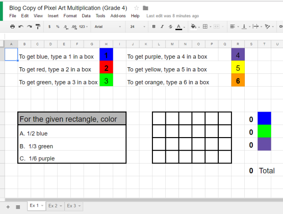 Multiplication Question #1 on Google Sheets