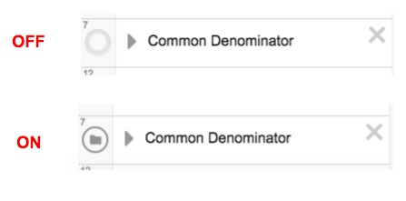 Toggle off and on the common denominator feature