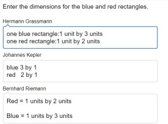 Red rectangle: 2 units by 1 unit. Blue rectangle: 3 units by 1 unit