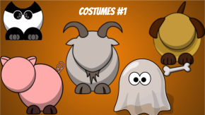 A picture of a panda, pig, goat, dog and ghost costumes for the Disguise a Turkey activity.