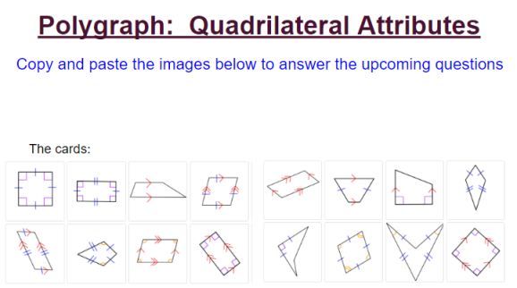 Title slide from the Post Polygraph Activity picturing the 16 images from the Polygraph: Quadrilateral Attributes